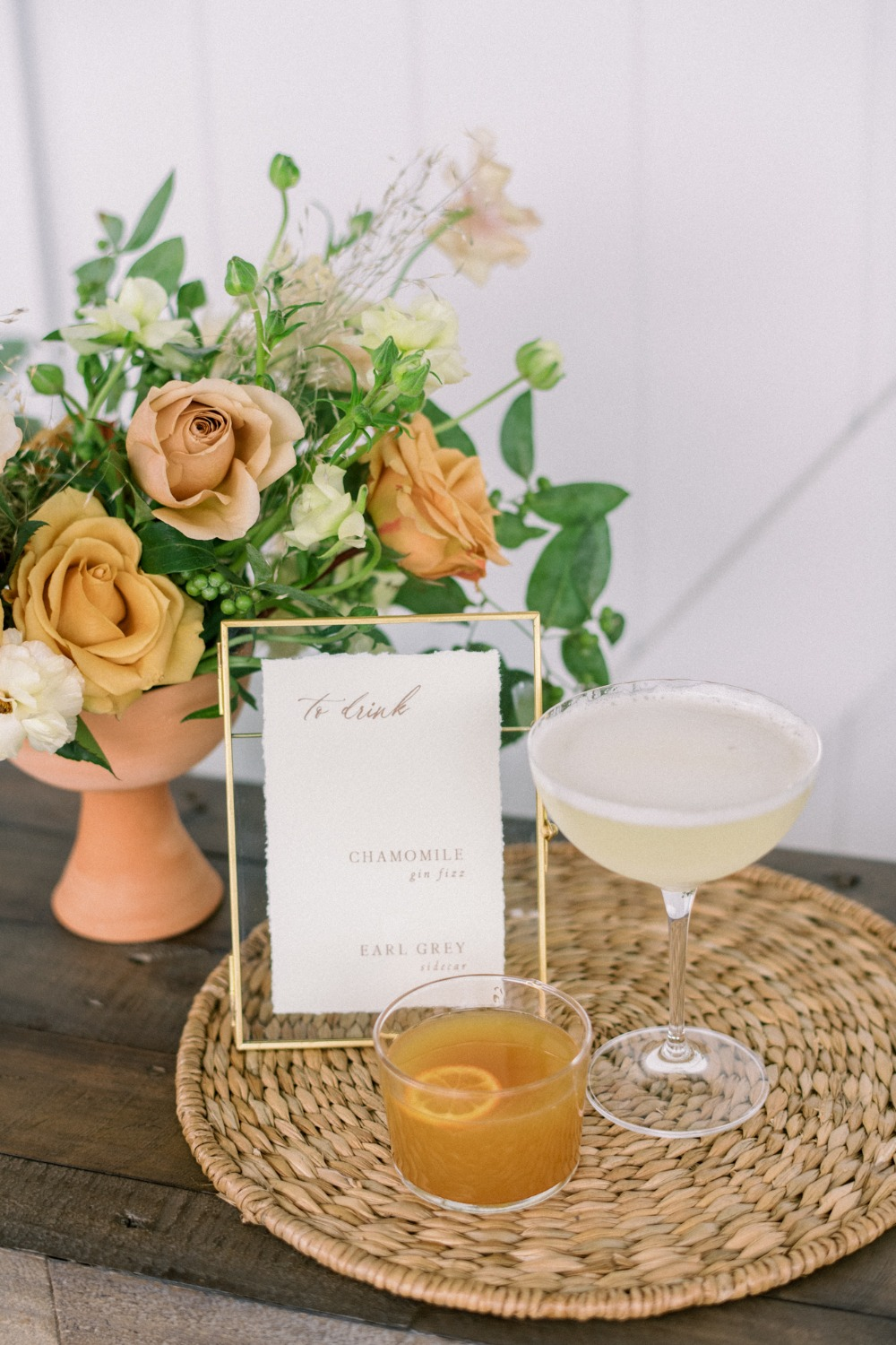 signature wedding drink ideas - Chamomile Gin Fizz and an Earl Grey sidecar