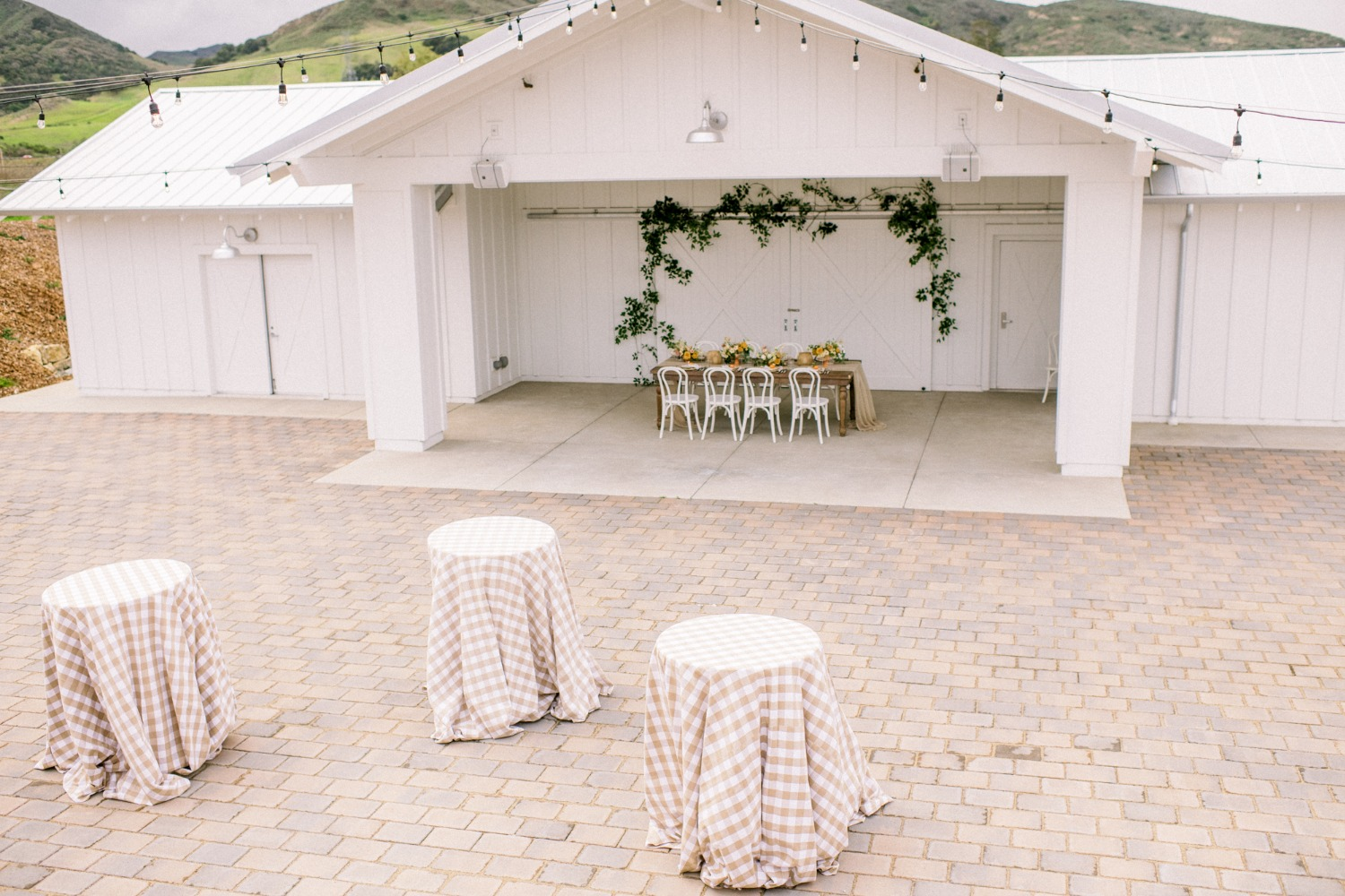 cocktail tables with gingham table cloths