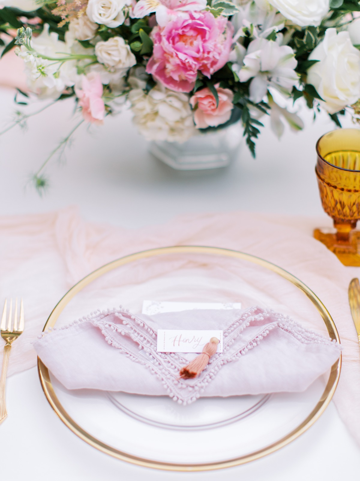 pink and yellow outdoor wedding reception