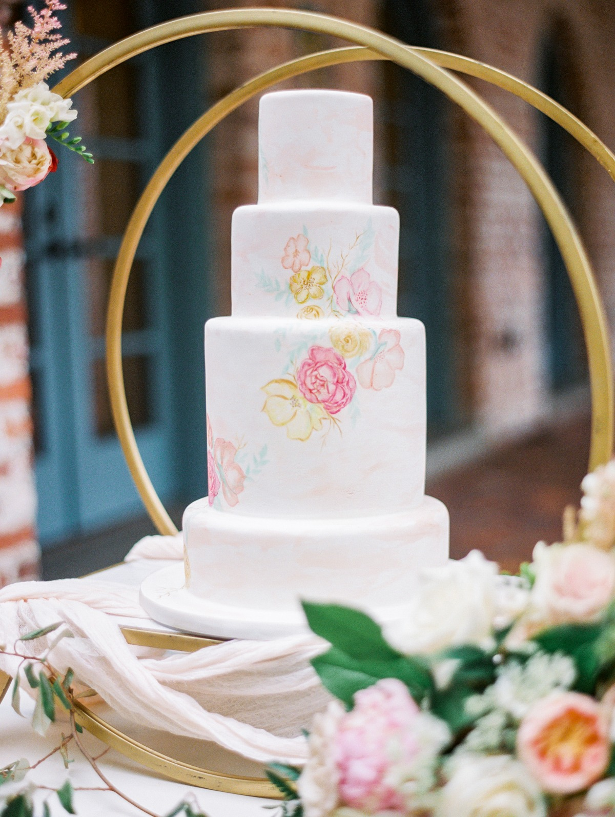pretty watercolor wedding cake designed by Everything Cake