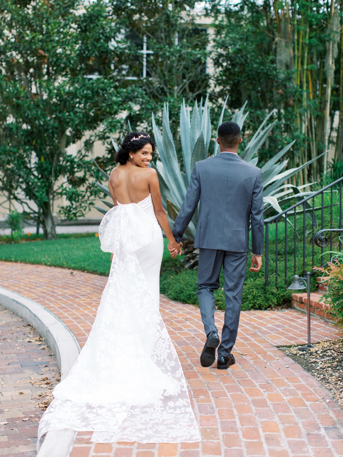 wedding dress with large bow in back