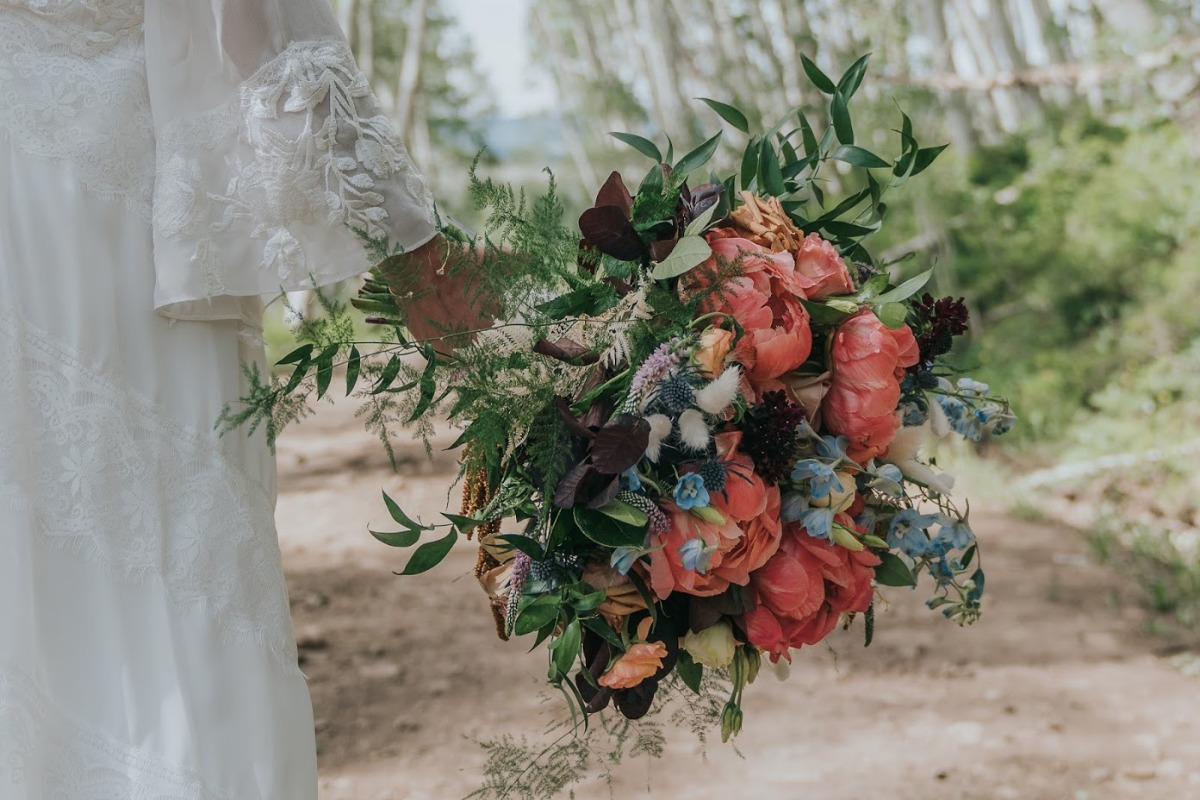peony garden wedding bouquet