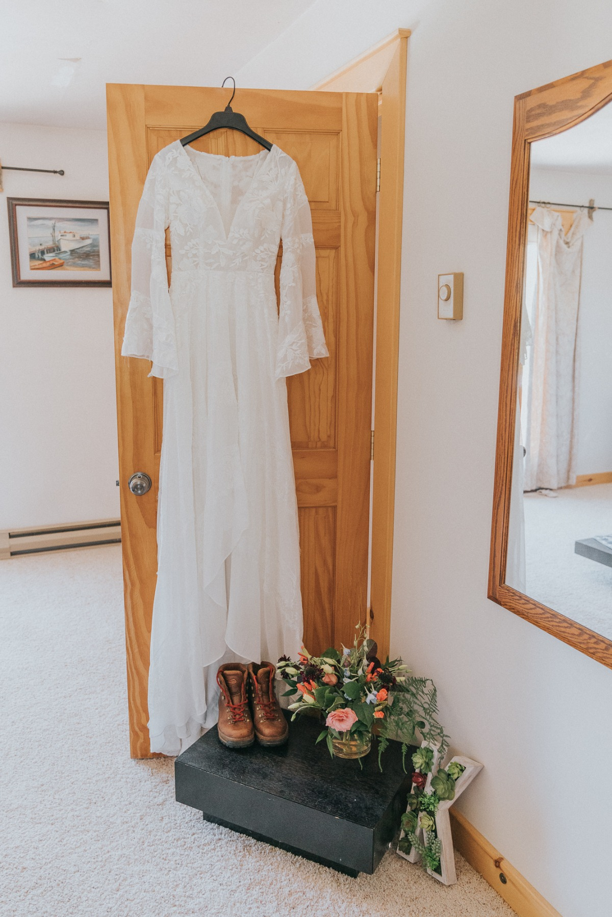 wedding dress at adventure elopement