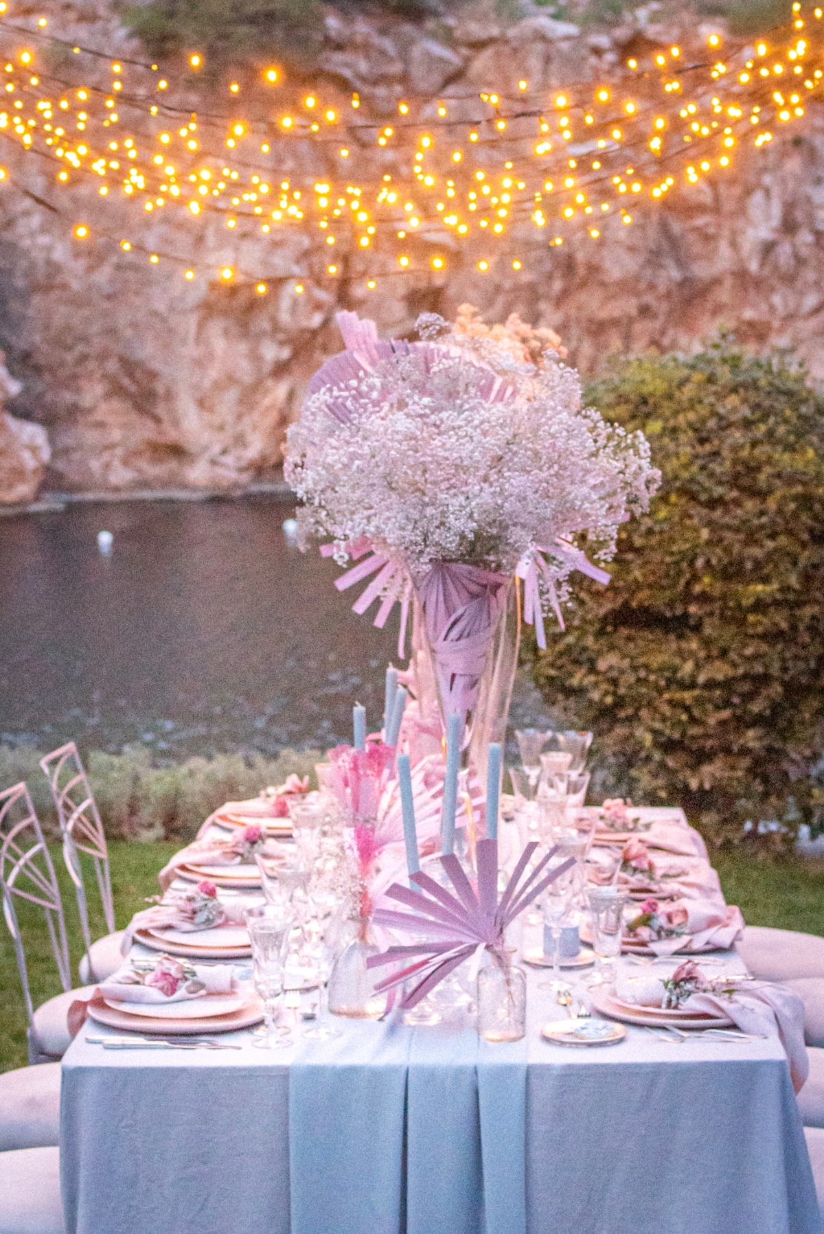 Rosy Dreamscape Lakeside Wedding Inspiration in Greece