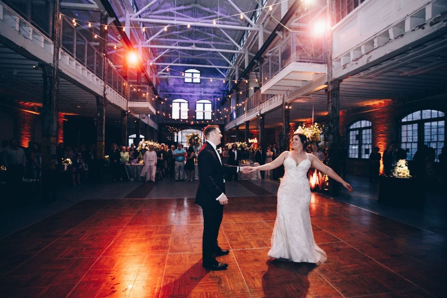 first wedding dance at Roebling Wire Works