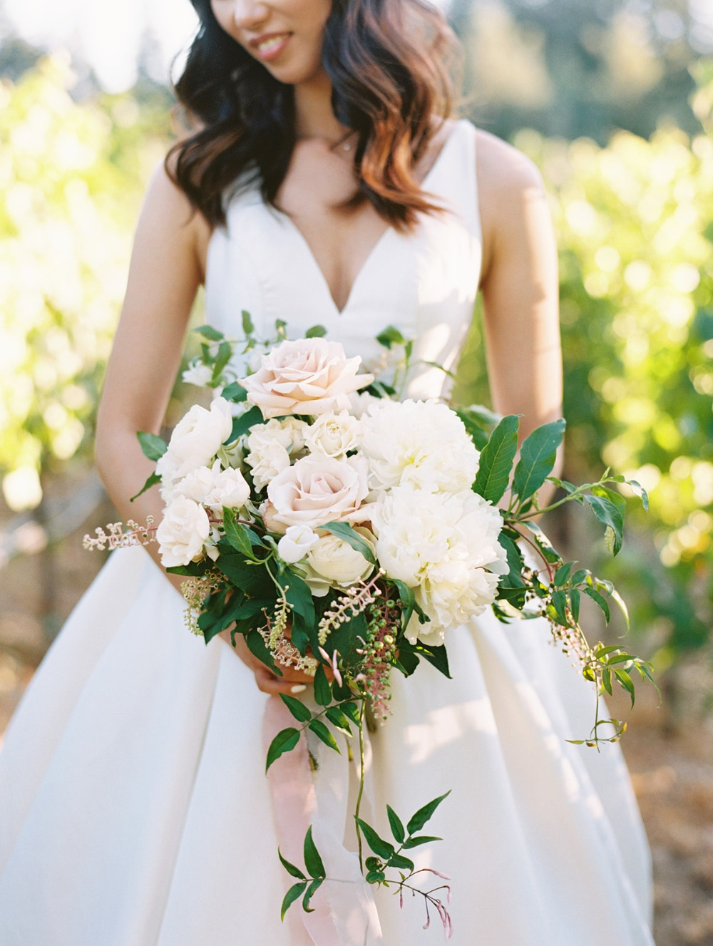 garden rose and greenery bride bouquet