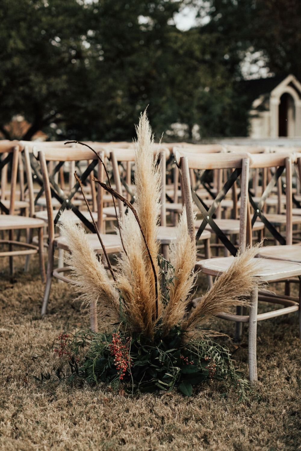 fall ceremony aisle decor