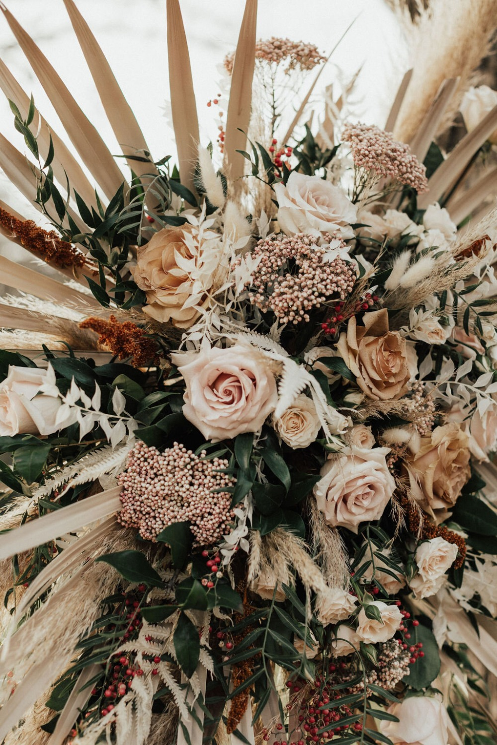fall florals used at wedding ceremony