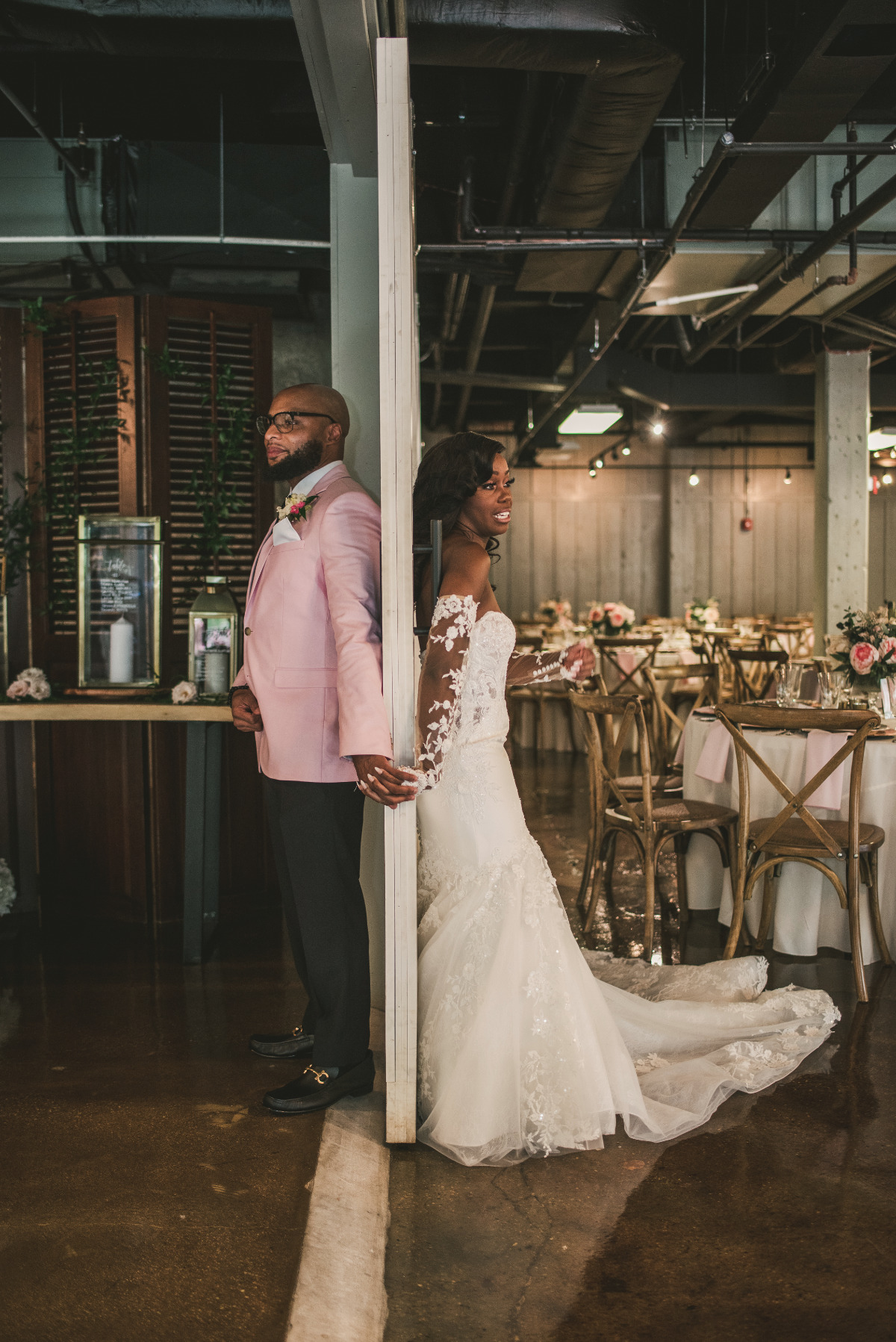 It was Industrial Glam and Florals Galore at this Main Street Ballroom Wedding
