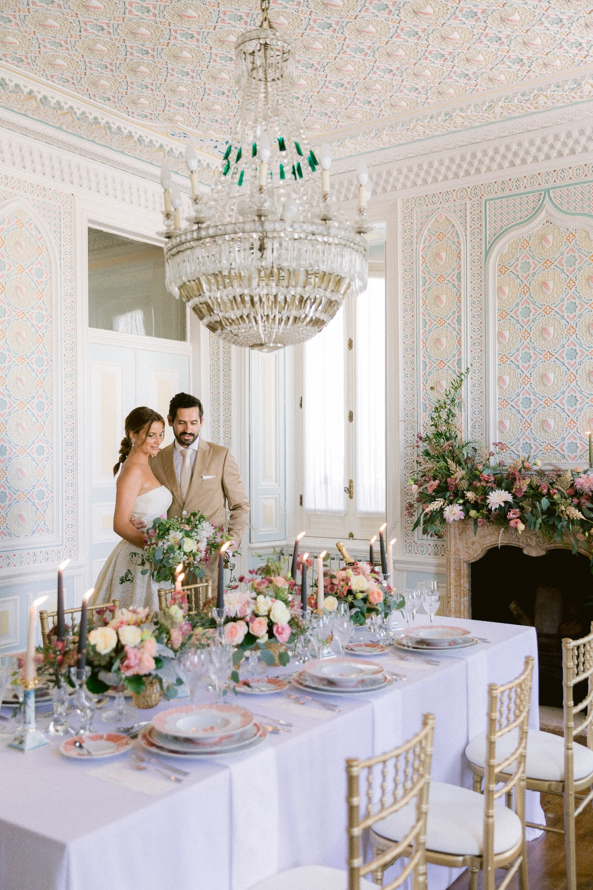 intimate wedding reception at a private chateau in Portugal