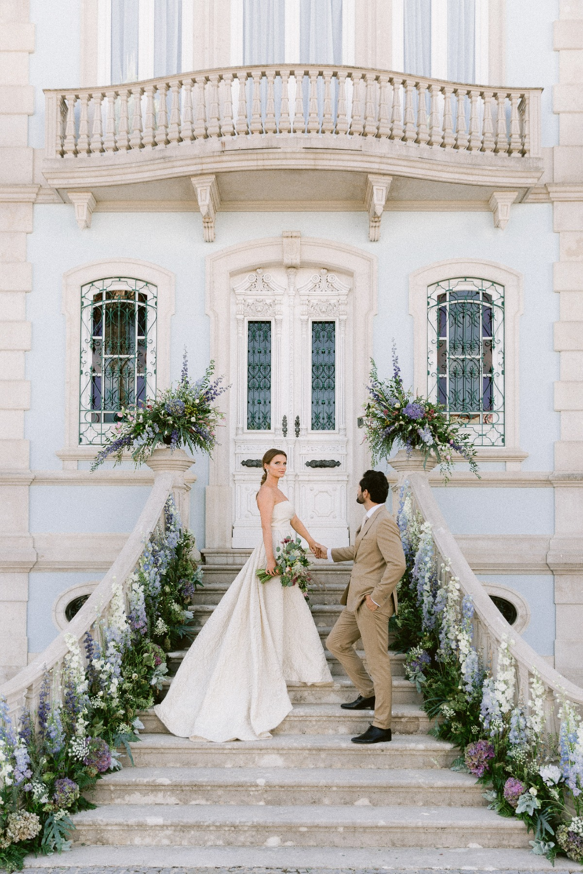 Gio Rodrigues bride and groom fashions