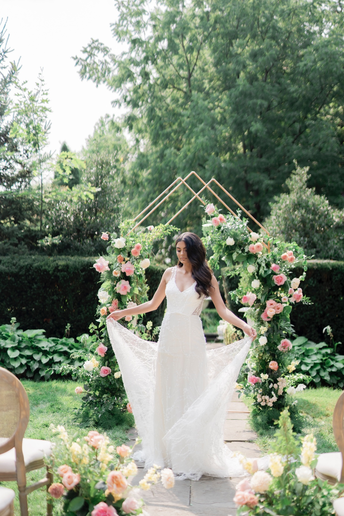 Geometric Orchard Wedding with Pink and Orange Flowers