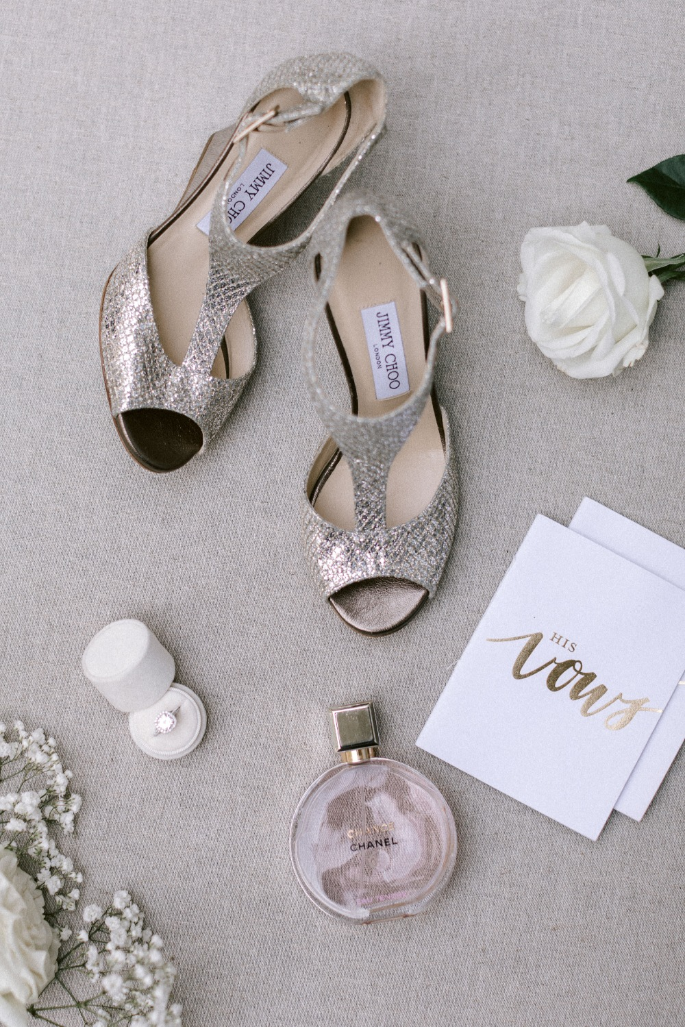 silver Jimmy Choo wedding shoes