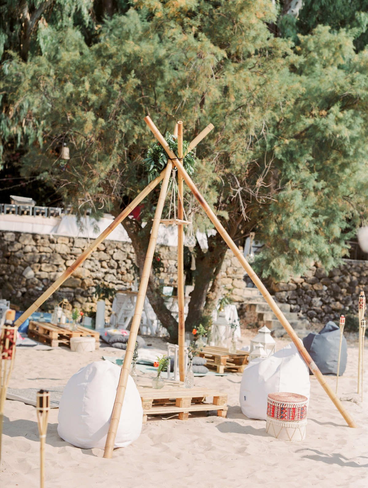 A Coastal Greek Wedding With A Boho Vibe In Pink And Blue