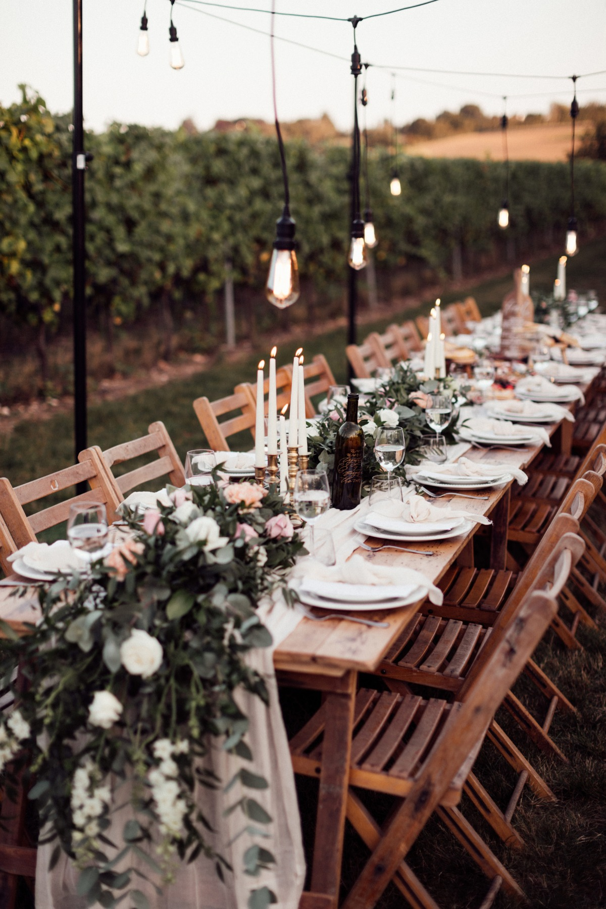Tuscan Vineyard themed micro wedding with vineyard tablescape and barn ceremony.
