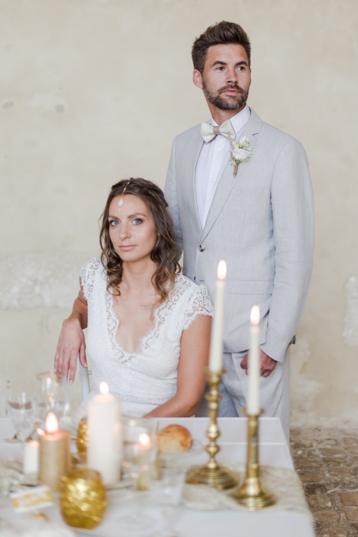 A French Castle Destination Wedding in White and Gold