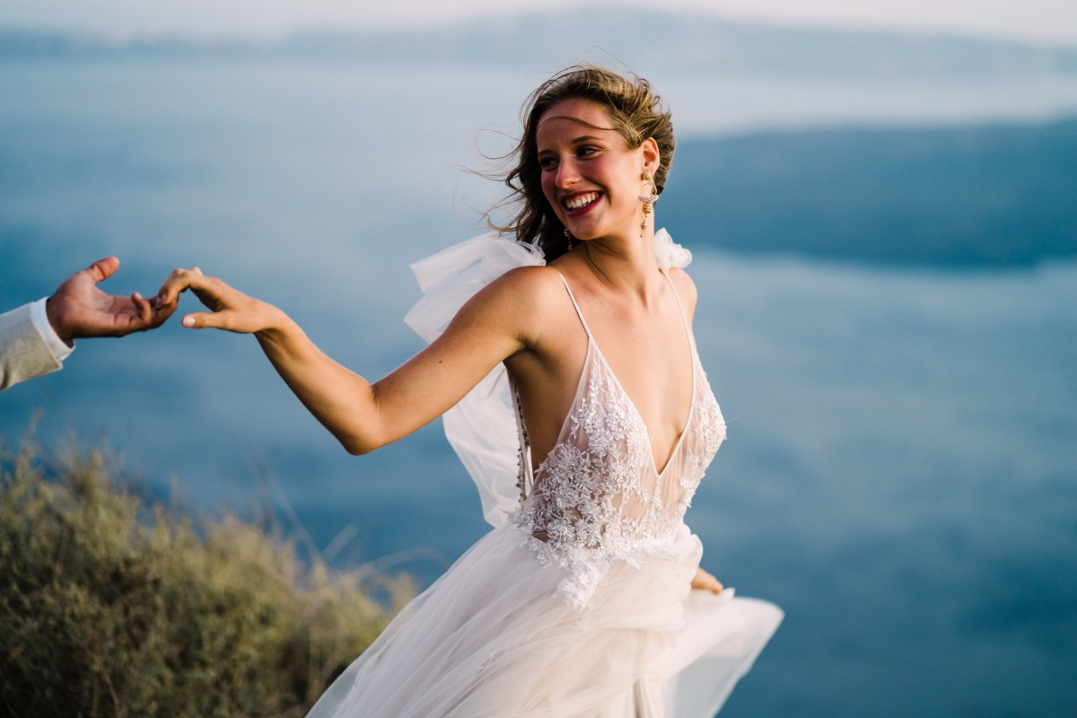 Get Away From It All–A Magical Elopement On The Cliffs of Santorini