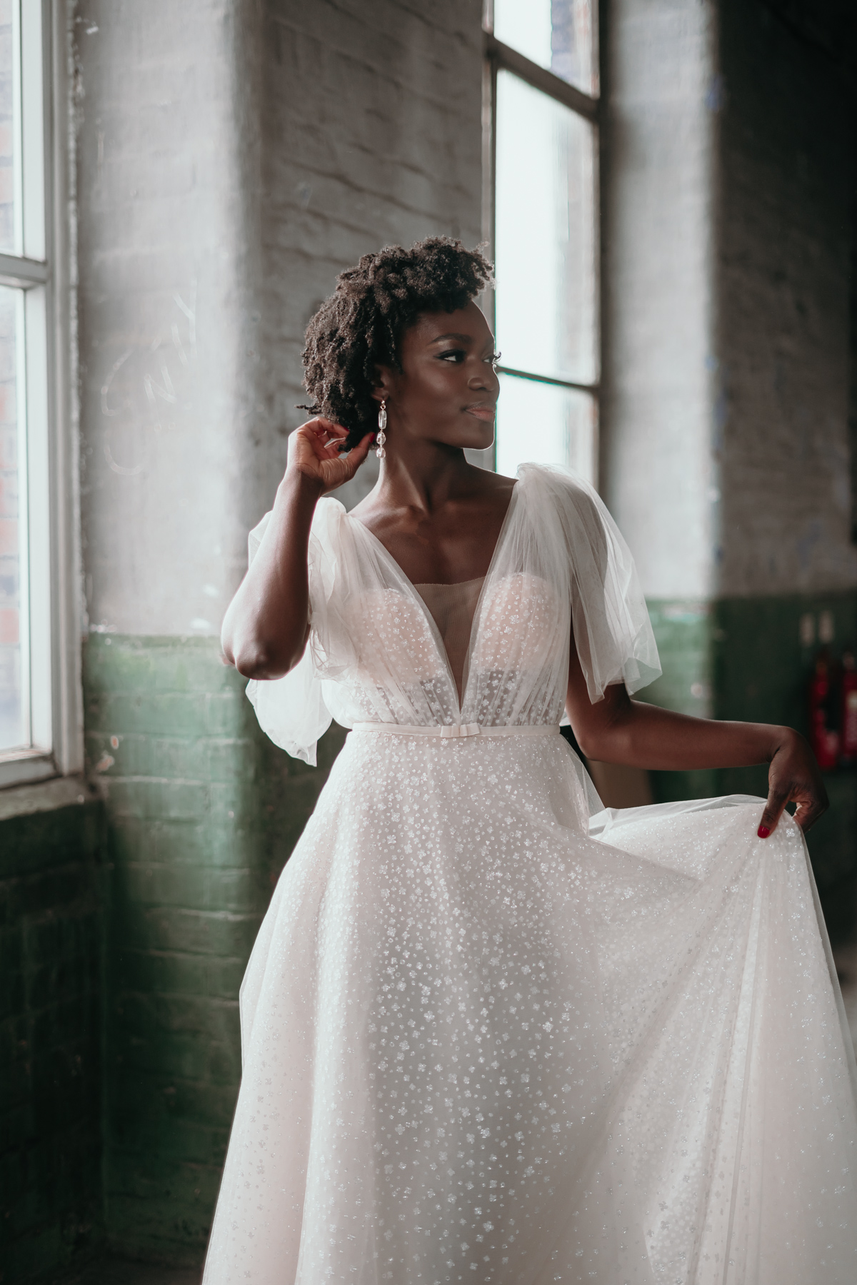 Industrial Wedding Venue with A Sequined Berta Dress