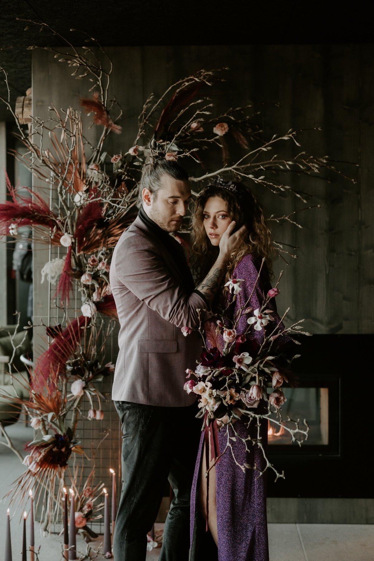A Rebellious Purple Themed Elopement With A Nordic Bath Finale