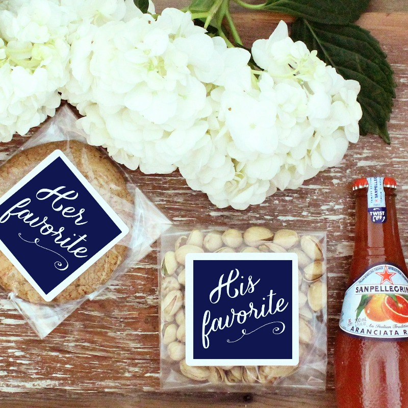 His Favorite & Her Favorite treat bags, the perfect addition to your wedding welcome bags.