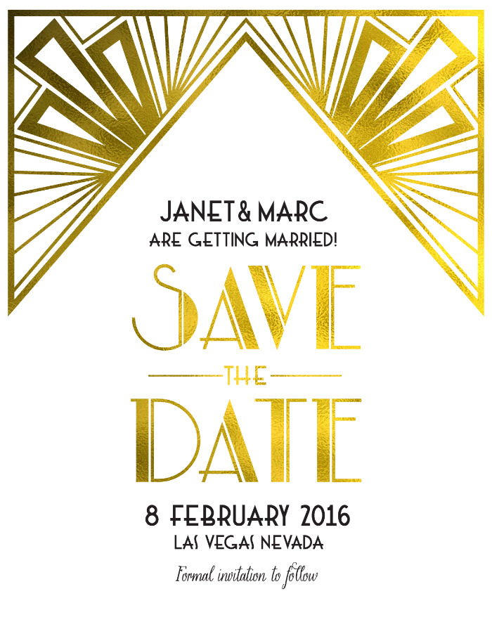 Art Deco Free Printable Save The Date