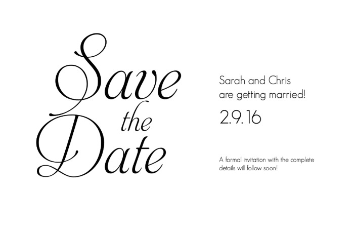Print: Fancy Font Free Printable Save The Date