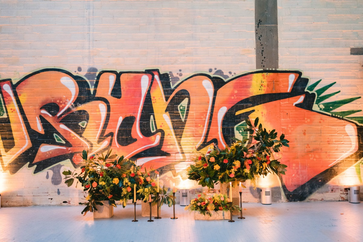 Street Art Inspired Wedding That Dares To Go Bold
