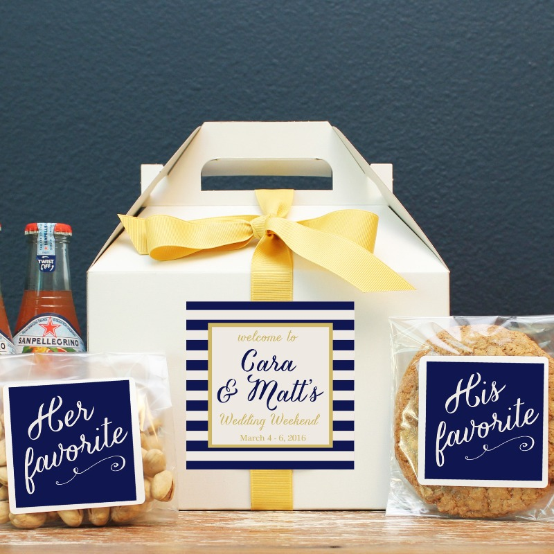 Shop our collection of Wedding Welcome box packaging! An inexpensive way to make your guests feel special.